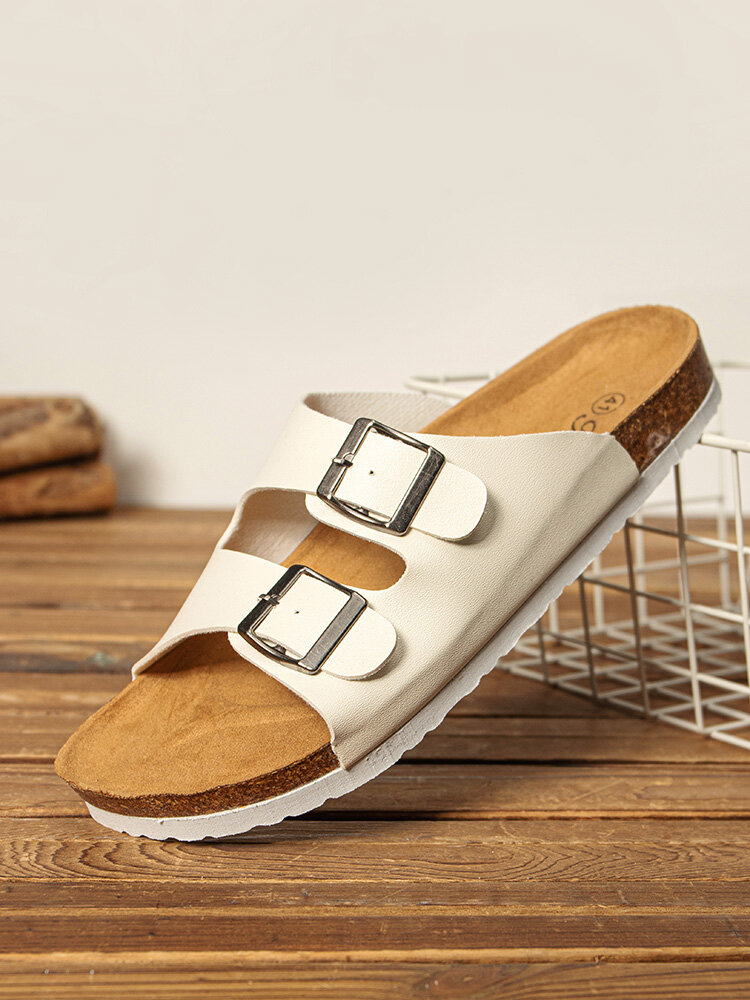 Men Brief Buttons Decoration Cork Sole Opened Toe Slippers