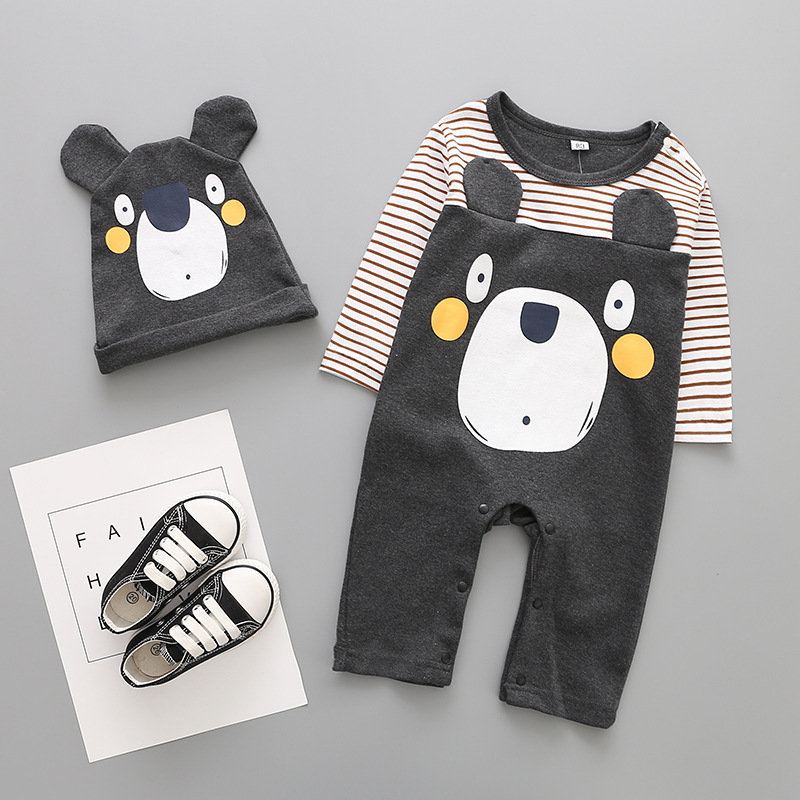 Animal Pattern Baby Boys Romper Set +Hat For 6-24M