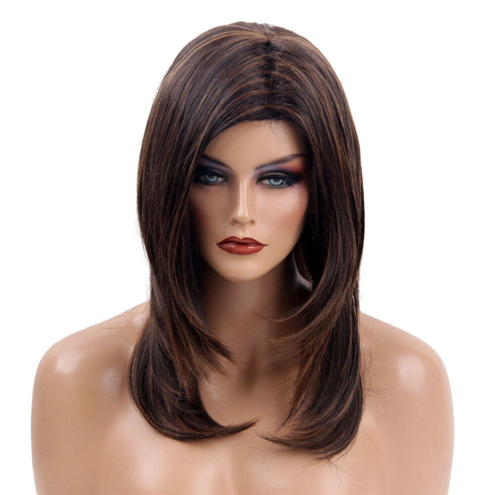 Medium Length Synthetic Streak Dark Brown Blonde Cosplay Hair Wig Women 48cm