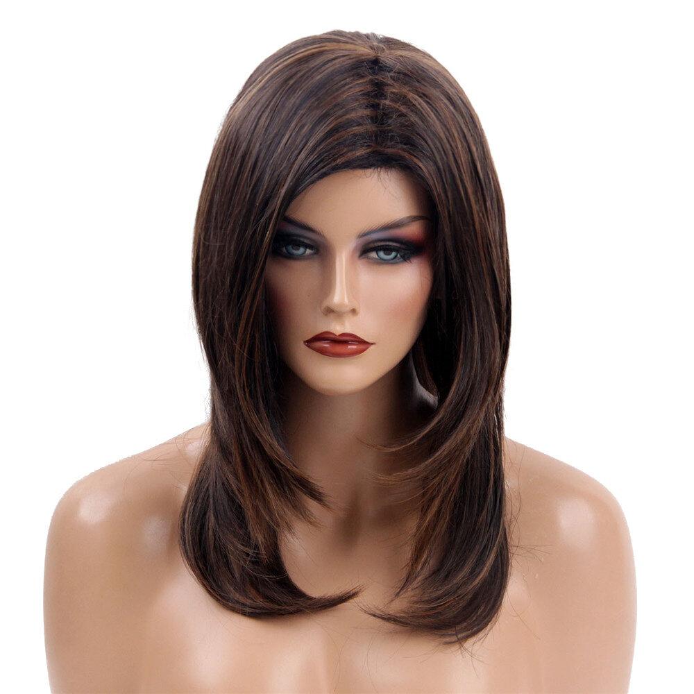 Medium Length Synthetic Streak Dark Brown Blonde Cosplay Hair Wig Women 48cm