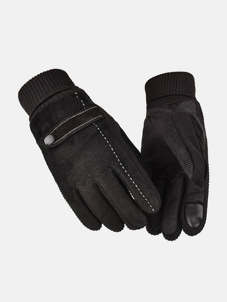 Men Leather Plus Velvet Thick Screen Touchable Riding Driving Motorcycle Windproof Keep Warm Full-finger Gloves