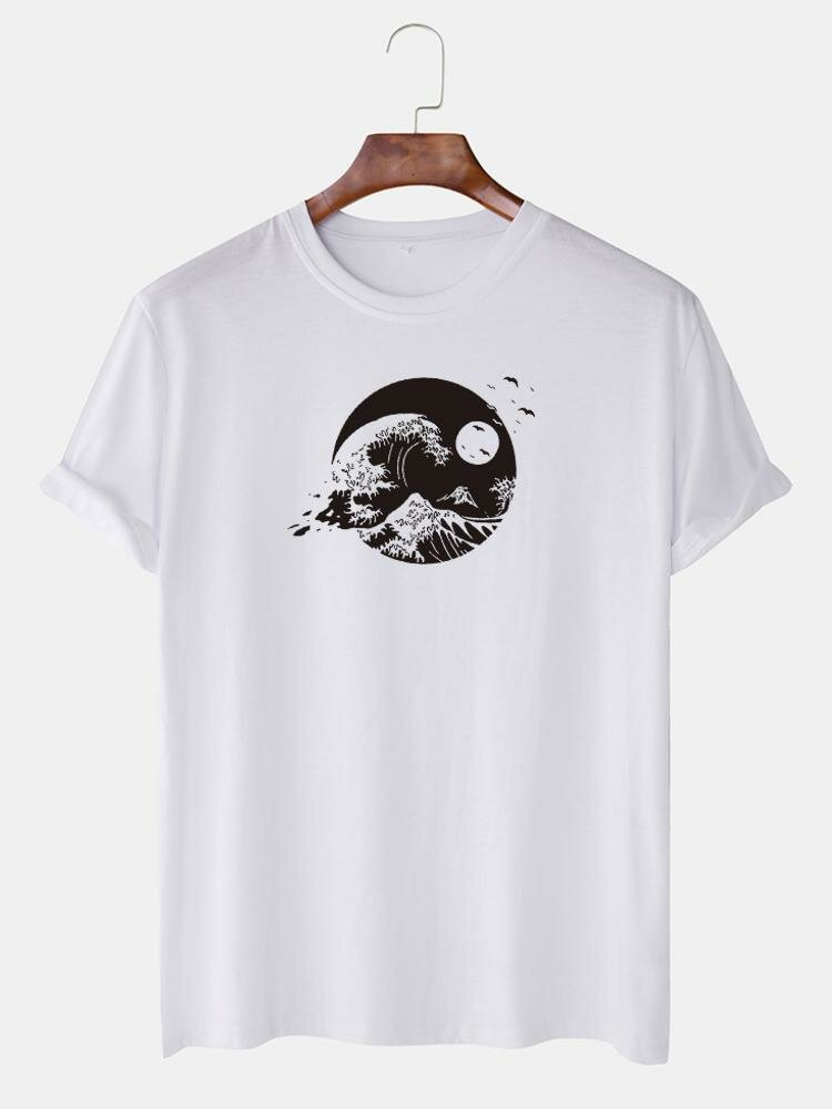 Mens Landscape Graphic Print Cotton O-Neck Casual Short Sleeve T-Shirts