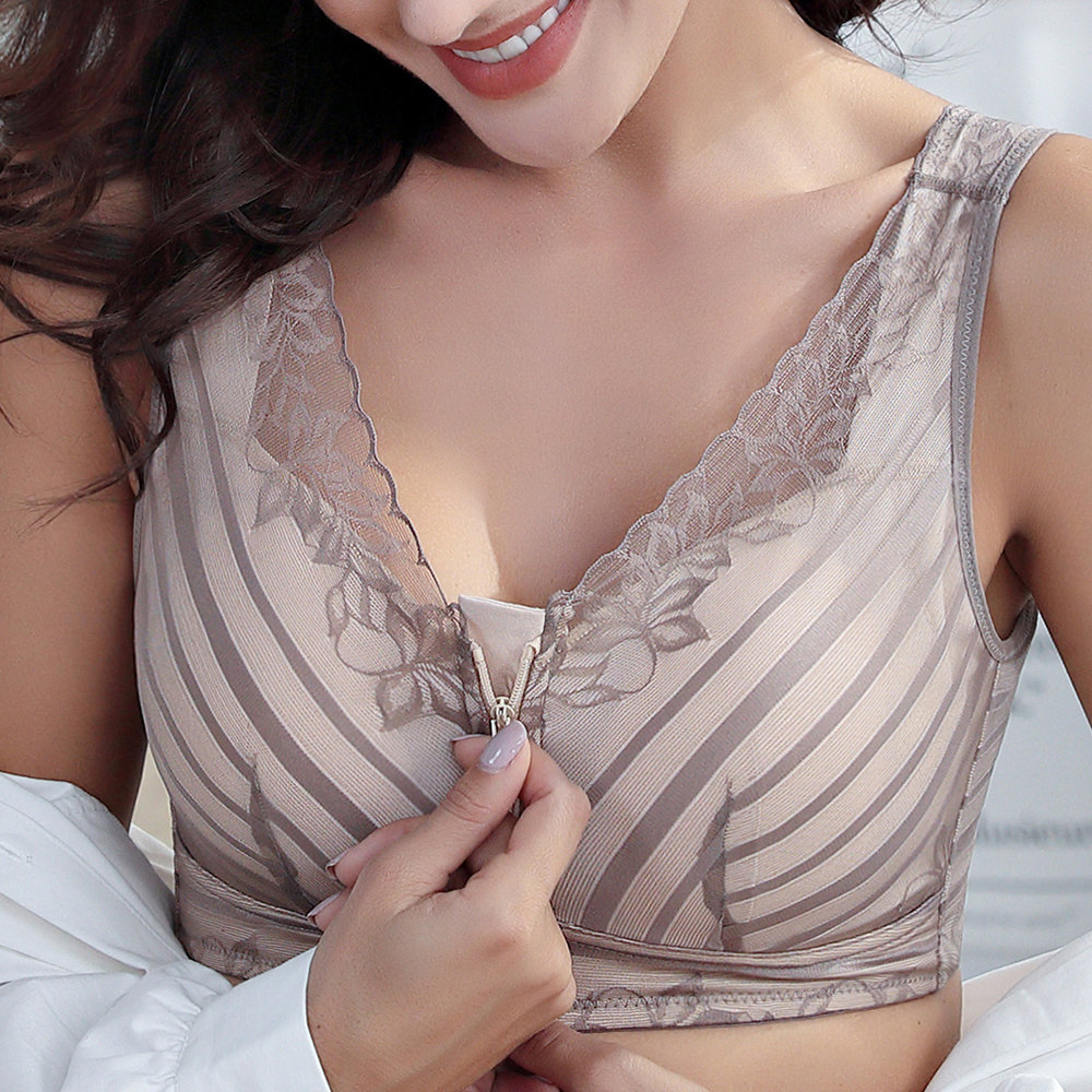 US 12 Zip Front Lace Wireless Cotton Lining Lightly Lined Removable Padding Sleep Bras