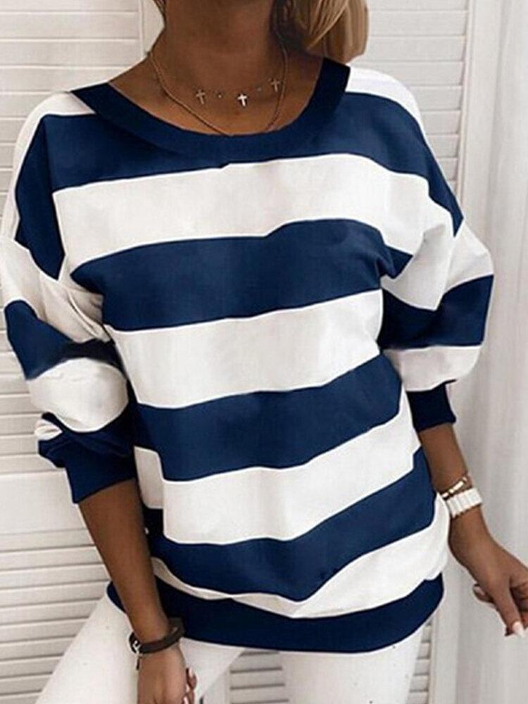 Casual Striped Long Sleeve O-neck Plus Size Sweatshirt