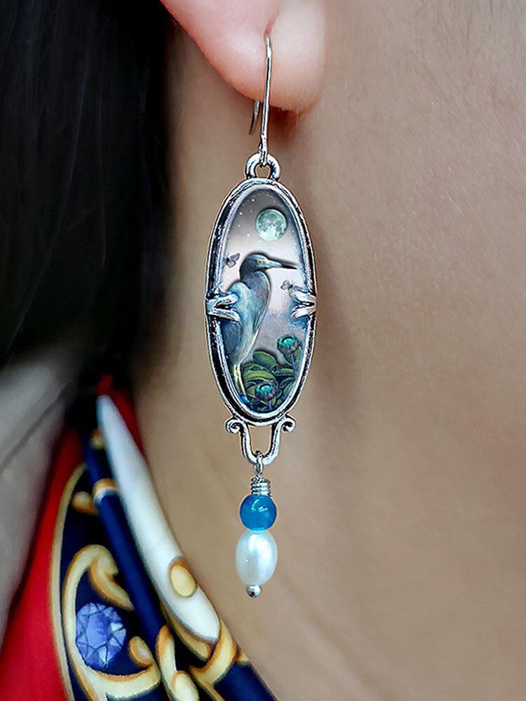 Vintage Sapphire Earrings Bird Flower Blue Heron Pearl Pendant Earrings Women Jewelry