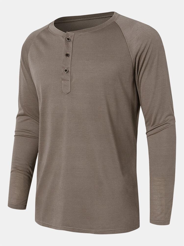 Mens Solid Color Quarter Button Long Raglan Sleeve Casual T-Shirts