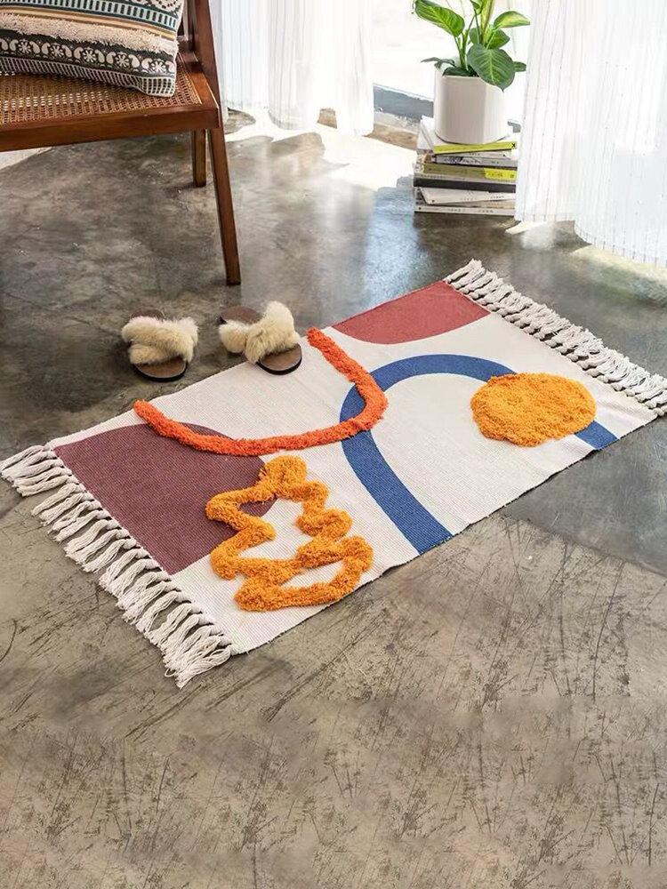 Bohemia Cotton & Linen Area Teppich Fußmatten Cotton Rug Modern Nordic Geometric Area Teppich Home Tapetes Wohnzimmer Dekoration Bodenmatte Fußmatten