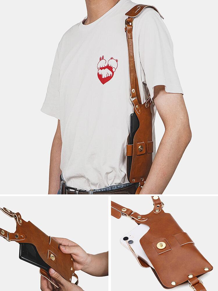 男性6.3インチ電話ホルダーPUウエストベルトバッグ