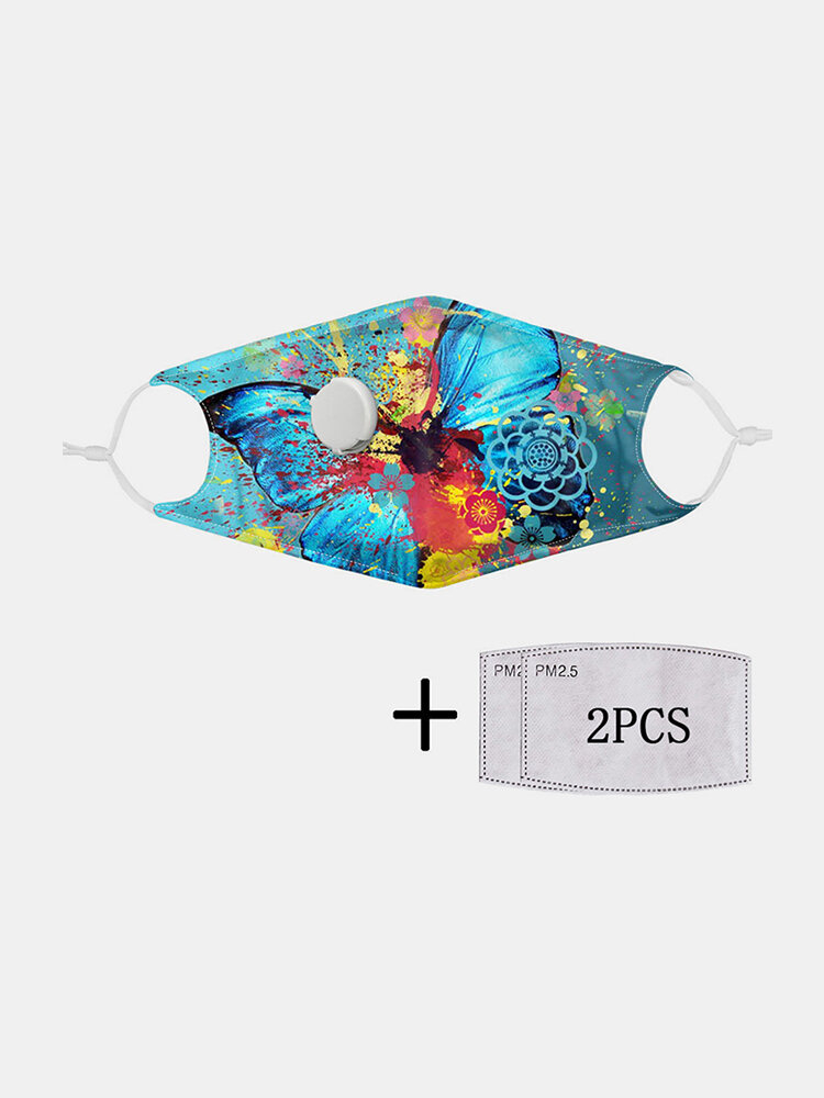 Multicolor Printed Butterfly PM2.5 Filter Gasket Dustproof Non-disposable Breathing Valve Mask