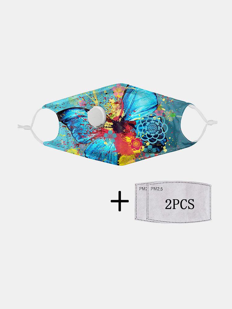 多色プリントバタフライPM2.5フィルターガスケット防塵非使い捨て呼吸バルブマスク