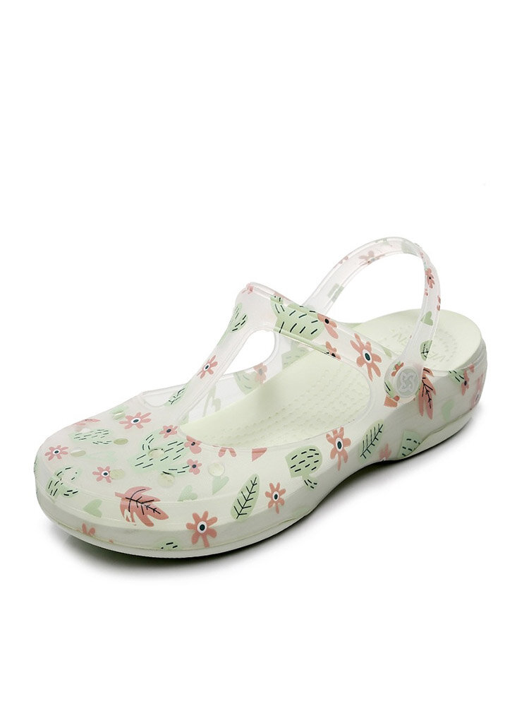 Women Casual Closed Toe Flowers Printing Soft Jelly Sandals