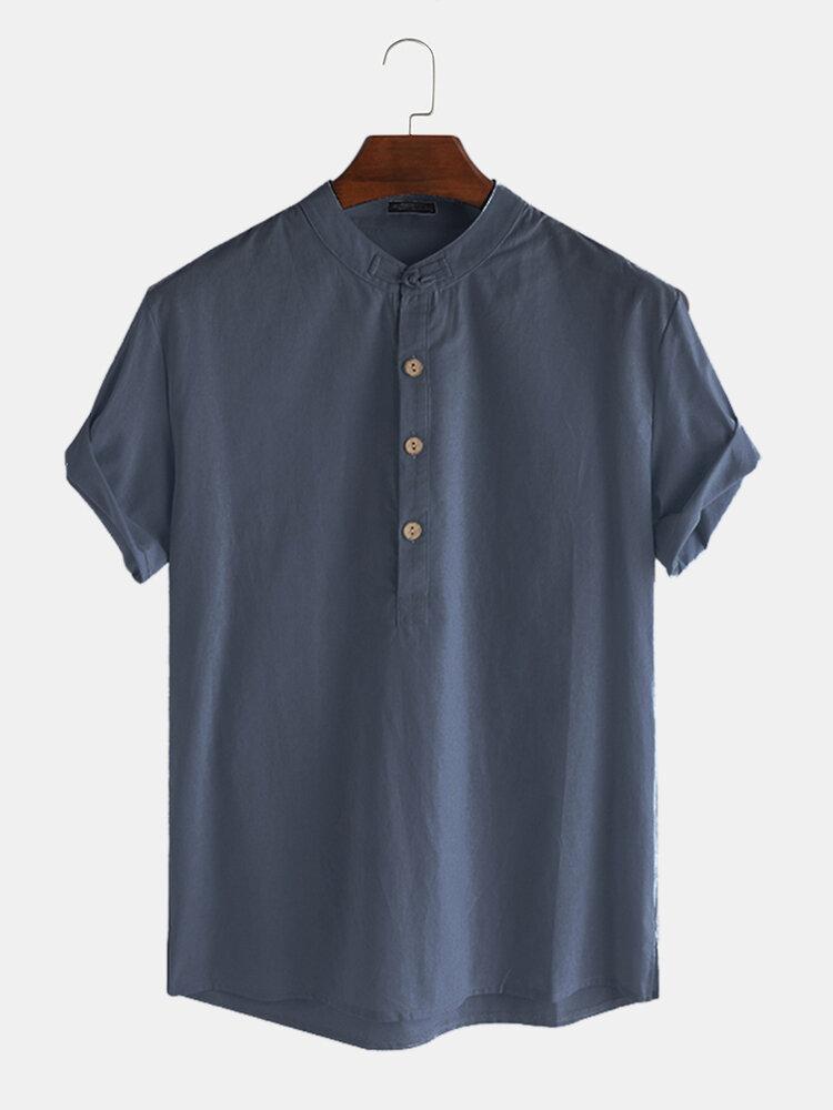 Men Cotton Linen Retro Solid Casual Henley Shirt