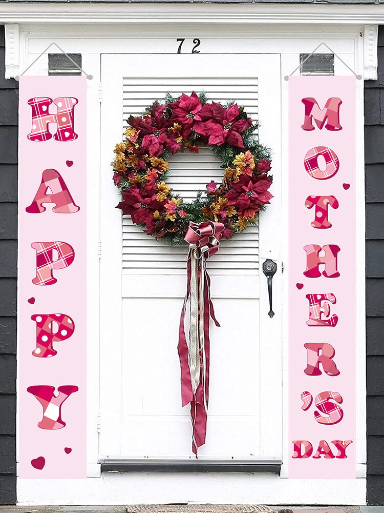 Happy Mother's Day Banner Home Yard Indoor Outdoor Party Decor Door Curtain Festival Atmosphere Couplet Banner