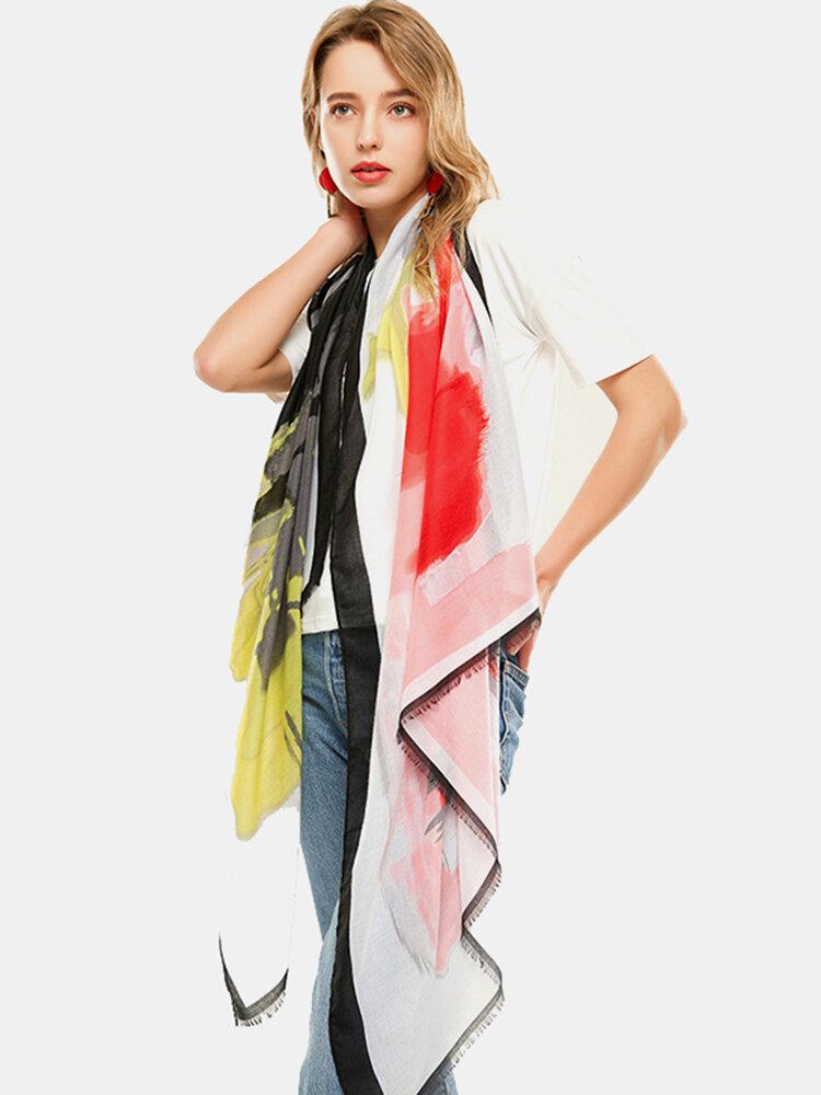 Satin Tie Dye Pattern Scarf Thin Multifunctional Headscarf Multicolor Ethnic Scarf