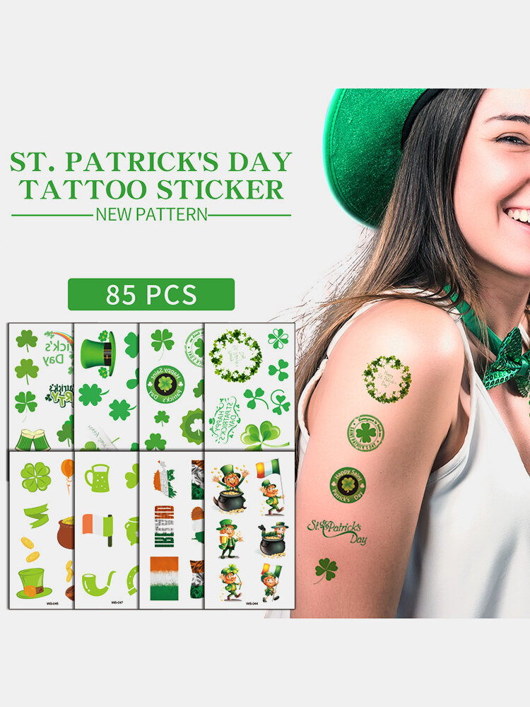 1Pc Irish Festival Waterproof Disposable Tattoos Stickers Four Leaf Clover Pattern Water Transfer Tattoo Stickers