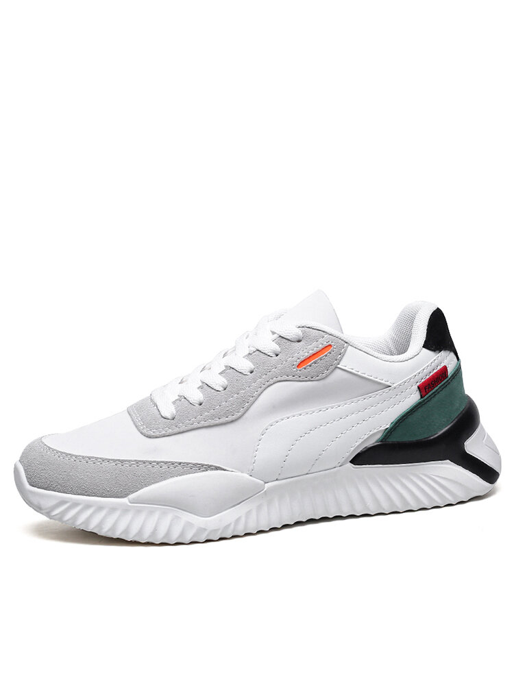 Men Breathable Color Blocking Lace-up Sport Casual Sneakers