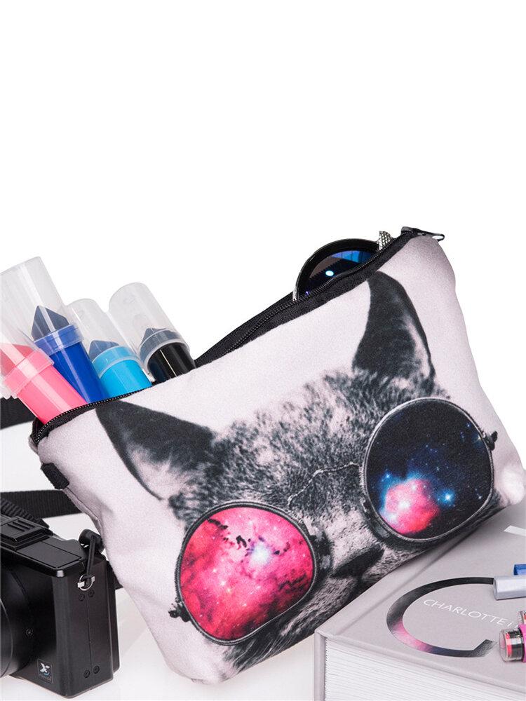Glassed Cat 3D Printing Multi-Functional Cosmetic Bag Clutch Bag Storage Wash Bag