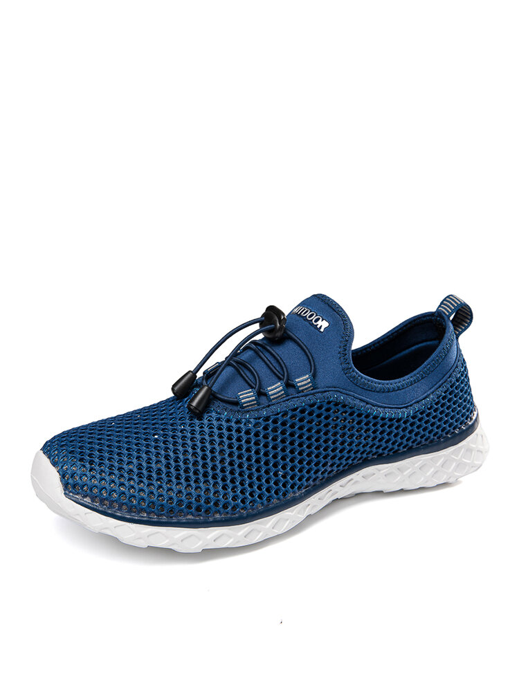 Men Breathable Mesh Fabric Lace-up Round Toe Casual Walking Shoes
