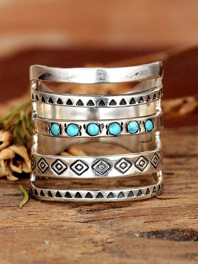 Vintage Turquoise Multi-layer Wide Ring Temperament Metal Crystal Ring
