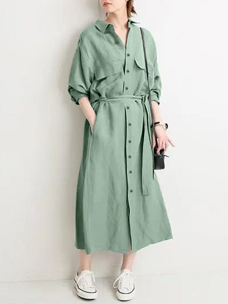 Women Solid Color Knotted Button Lapel Collar With Pocket Casual Coat