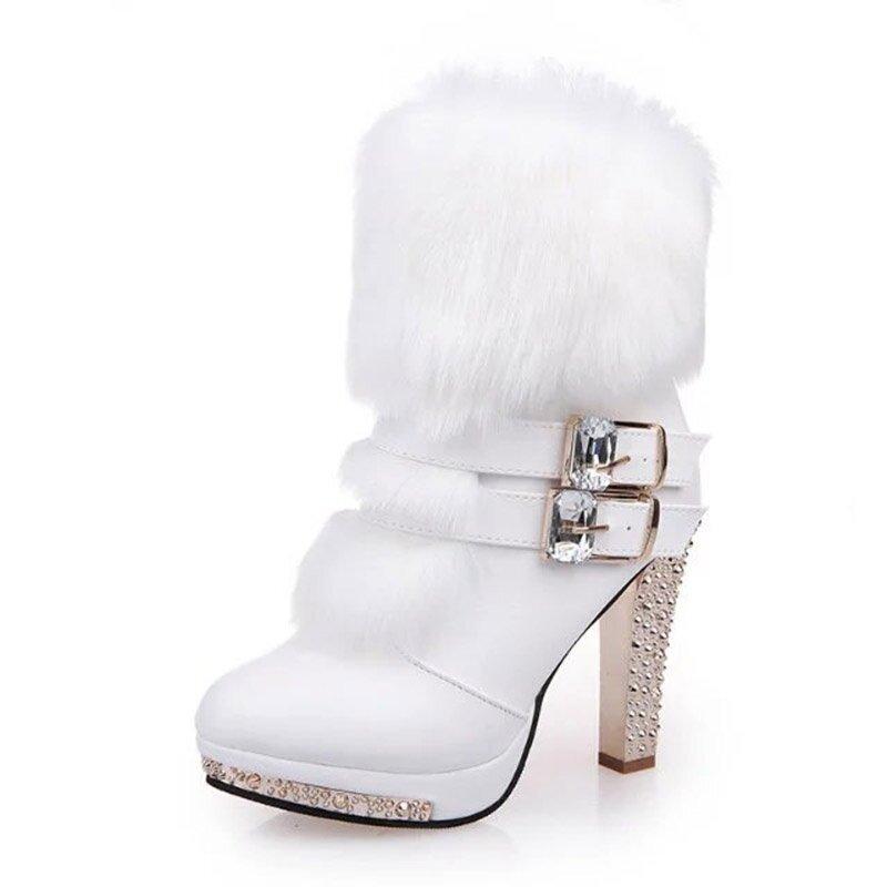 Buckle Furry High Heel Bling Boots