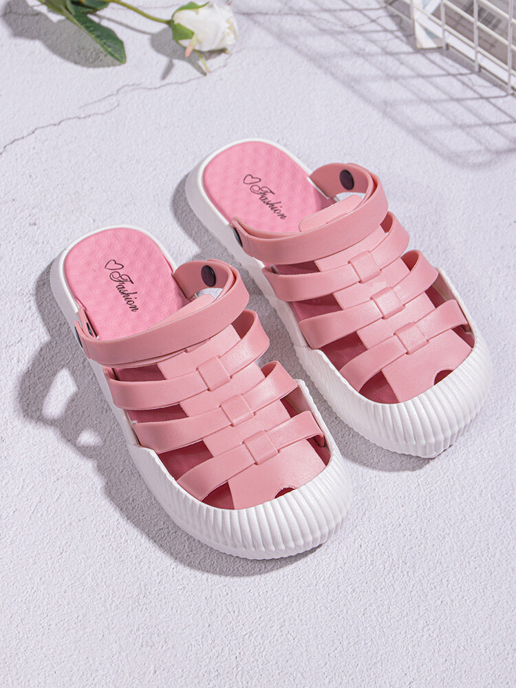 Women Summer Closed Toe Breathable Cut Out Water Shoes Comfortable Slip On Beach Sandals