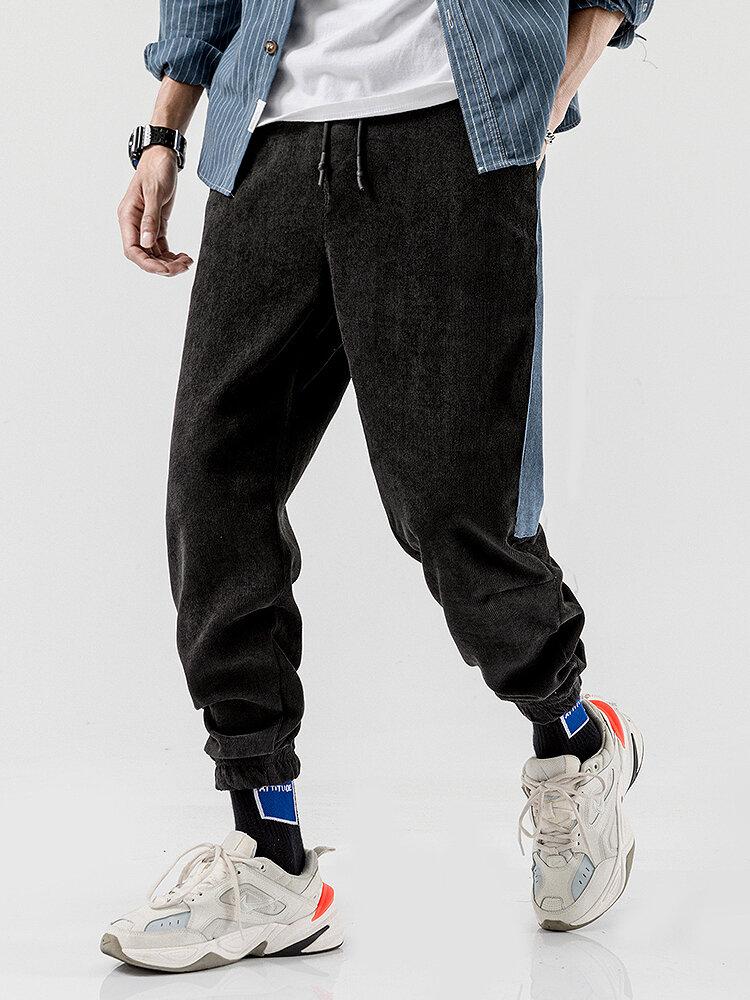 Mens Corduroy Contrast Side Stripe Casual Drawstring Elastic Ankle Pants