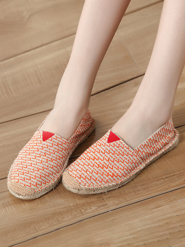 Plus Size Casual Comfy Cloth Slip On Espadrilles Flat Loafers For Women