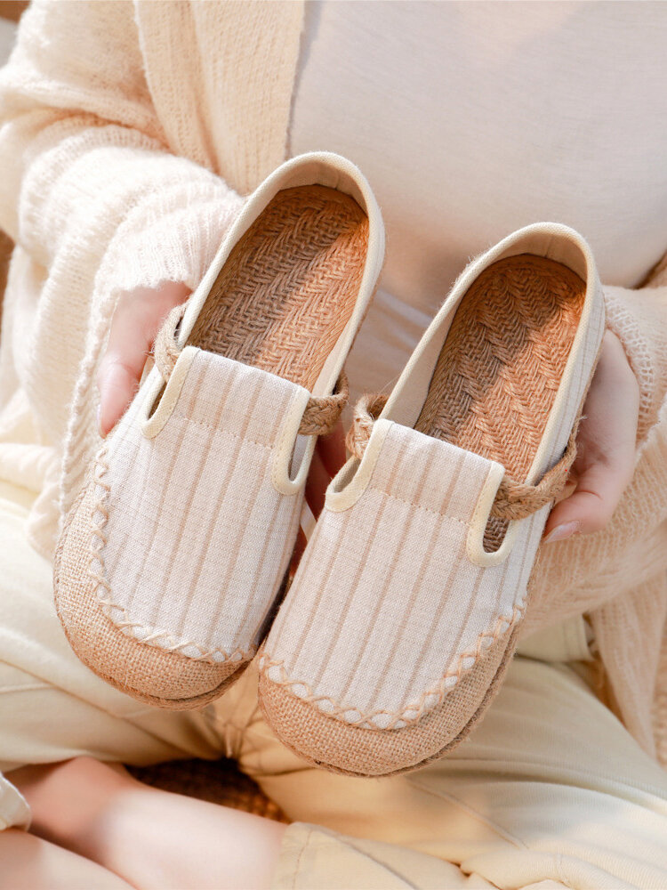 Women Large Round Toe Flax Expadrilles Stitching Slip On Loafers