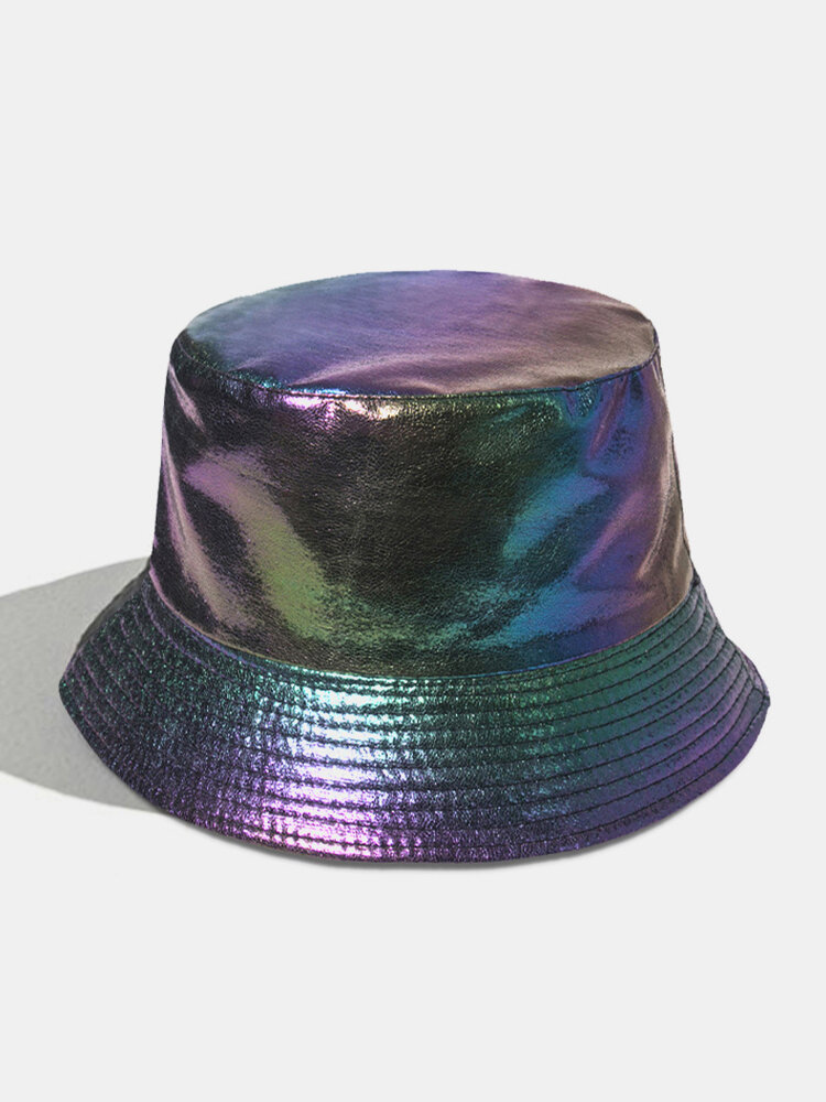 Women Faux Leather Plain Color Outdoor All-match Sunshade Bucket Hat