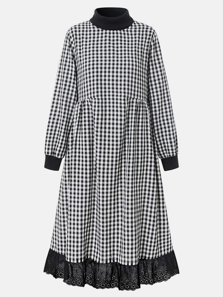 Plaid Print Lace Patchwork Long Sleeve Casual Dress for Women