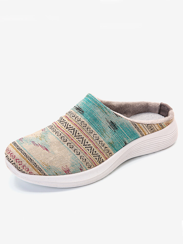 LOSTISY Stripe Printing Canvas Slippers Slip Resistant Flat Backless Shoes
