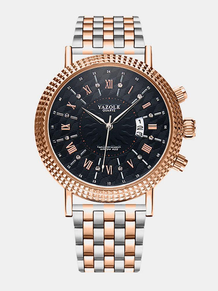 Business Style Calendar Quartz Watch Waterproof Stainless Steel Waist Watch For Men