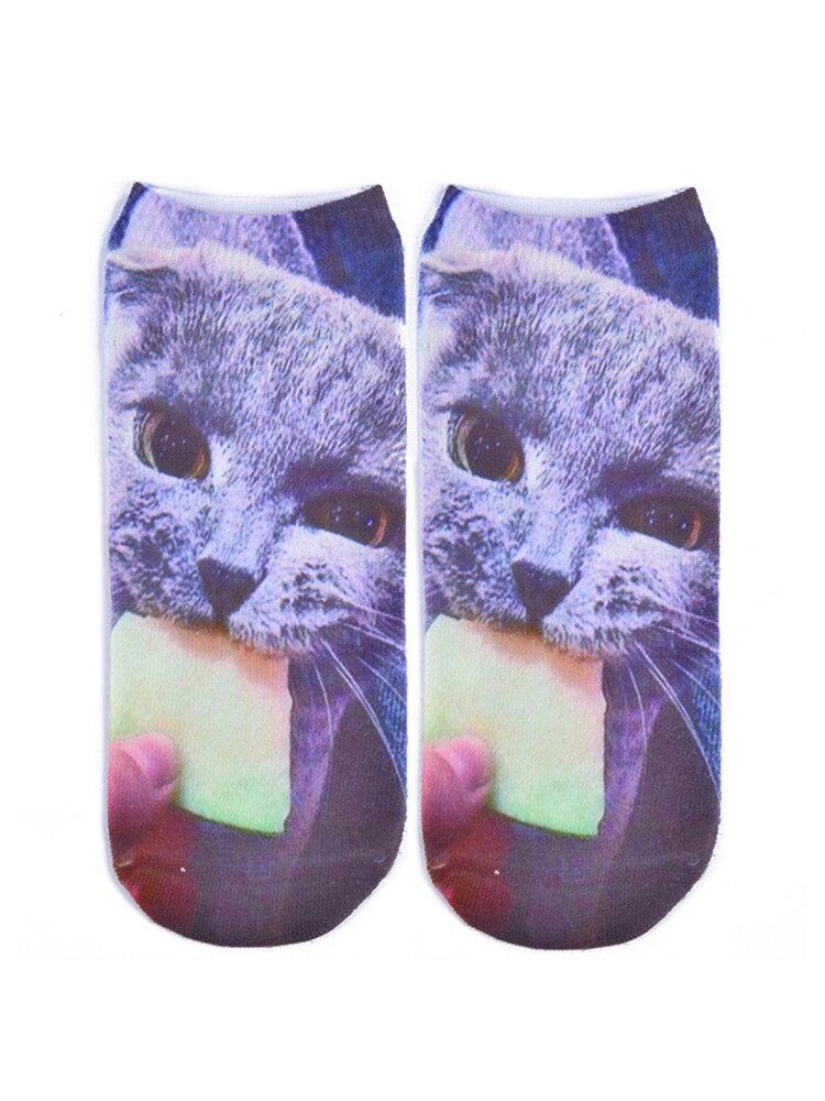 Women Cute 3D Animal Cartoon Cat Casual Socks Short Ankle Socks
