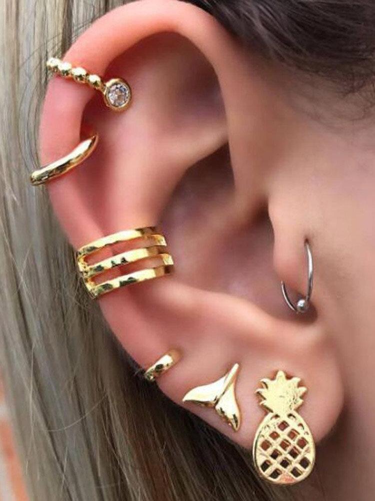 Punk Mermaid Tail Pineapple Fruit 7Pcs/set Metal Stud Earrings Combination Vintage Jewelry