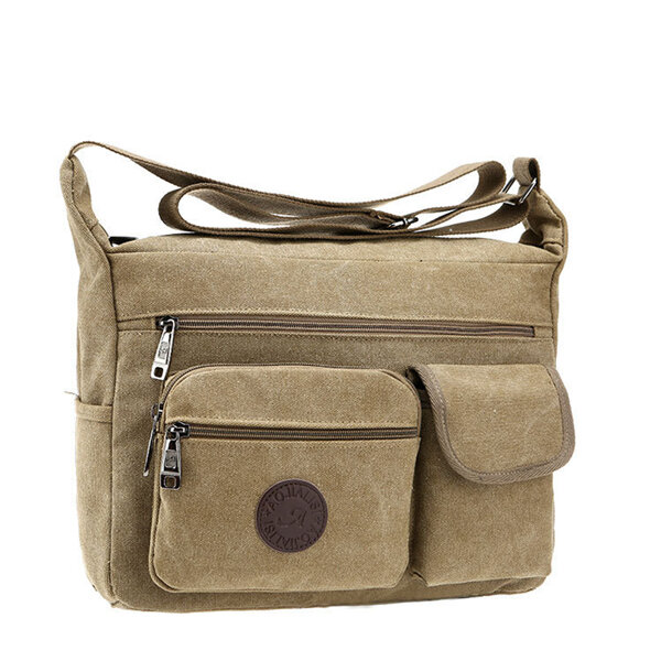 Men Vintage Canvas Crossbody Bag Outdoor Casual Shoulder Bag
