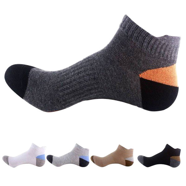 Men's Cotton Breathable Sports Basketball Socks Colors Patchwork Short-tube Socks