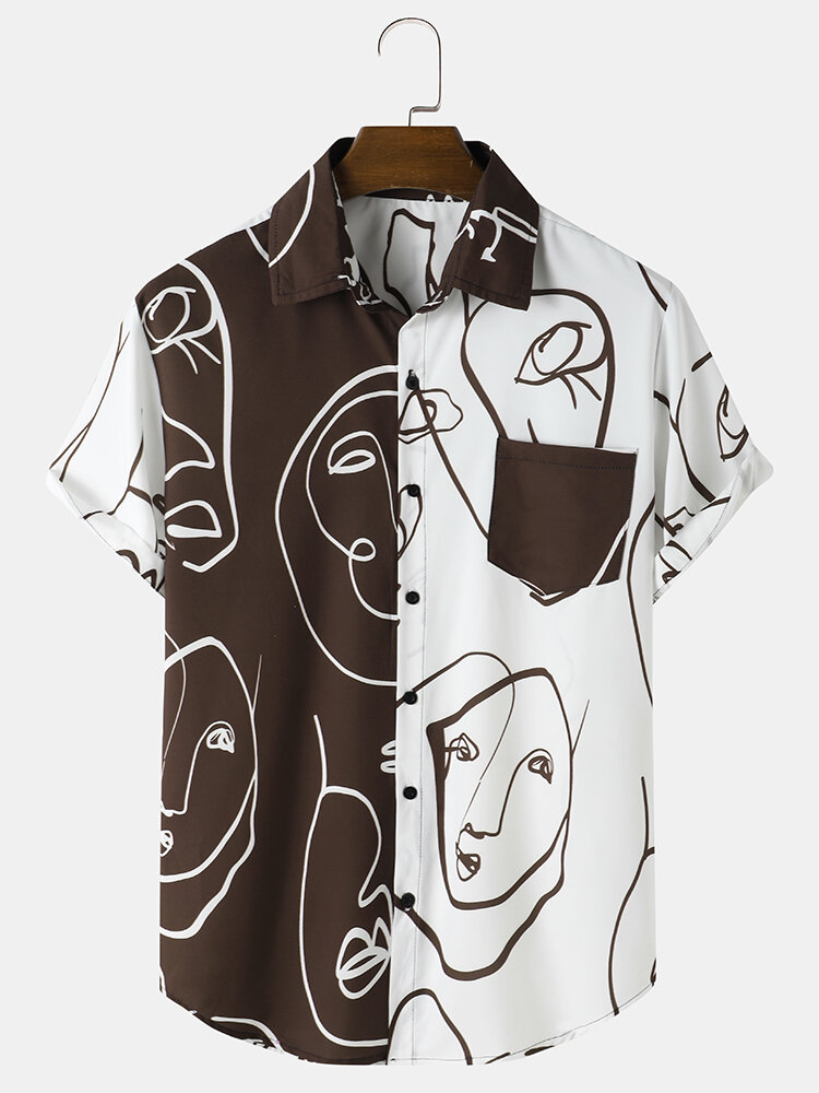 Mens Line Drawing Face Print Patchwork Casual Short Sleeve Shirts