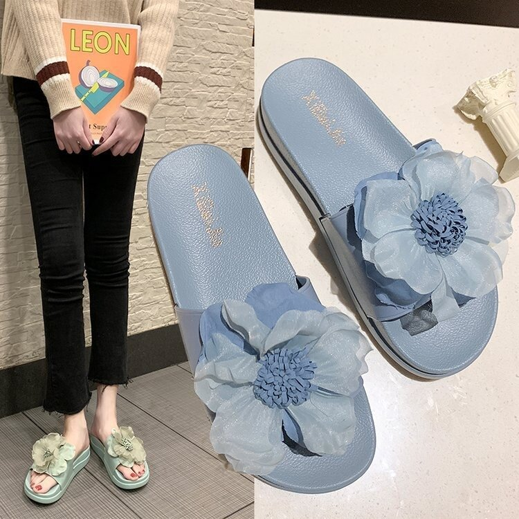 Women Summer Casual Flowers Peep Toe Flat Platform Slippers