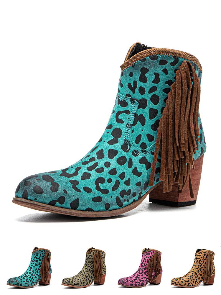 Women Causal Pointed Toe Leopard Fashion Chunky Heel Tassel Short Boots