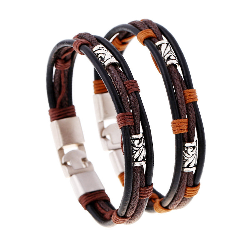 Punk Leather Bracelets Woven Wax Rope Retro Winding Multilayer Gift Bracelet for Men
