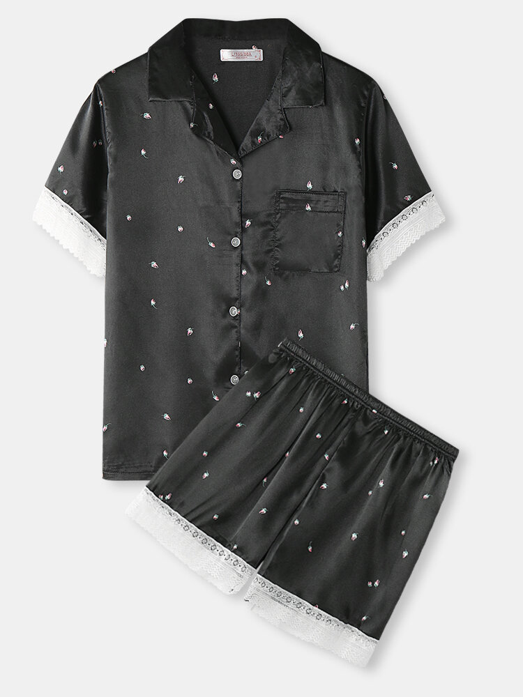 Women Flower Print Lace Trim Revere Collar Short Sleeve Home Pajama Sets