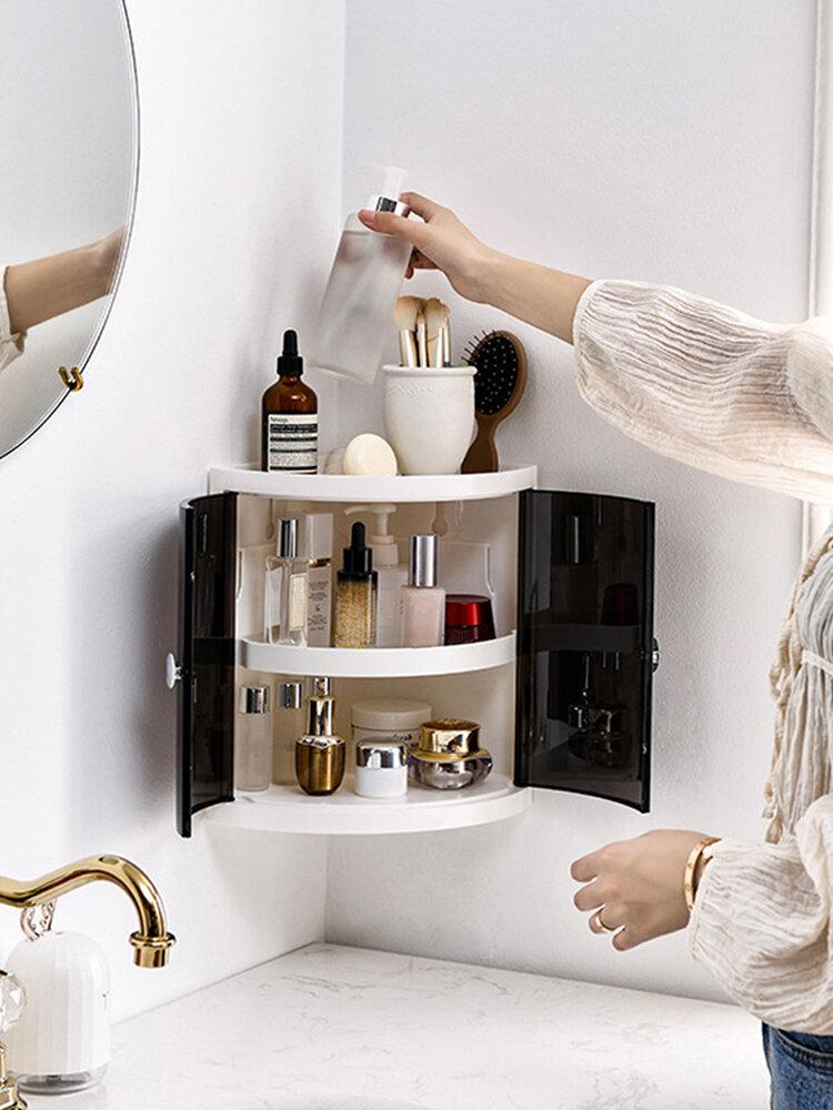 <US Instock> 多機能2/3層コーナー収納オーガナイザーラックホルダープラスチック壁掛け棚キッチンバスルーム