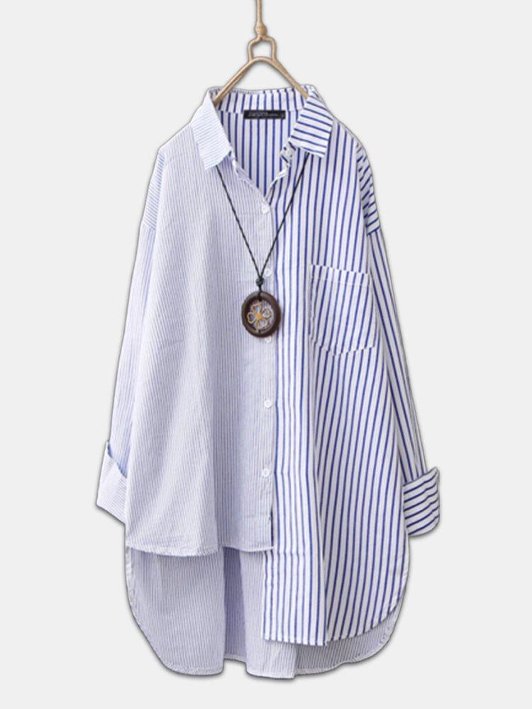 Two Tone Striped Asymmetrical Plus Size Shirt for Women
