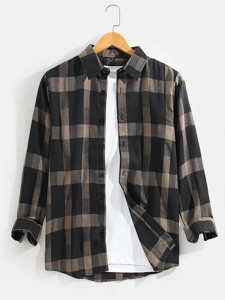 Mens Check Button Up Lapel Cotton Casual Long Sleeve Shirts