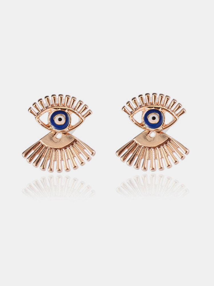 African Long Eyelash Eye Earrings Gold Alloy Ear Stub Split Earrings For Women