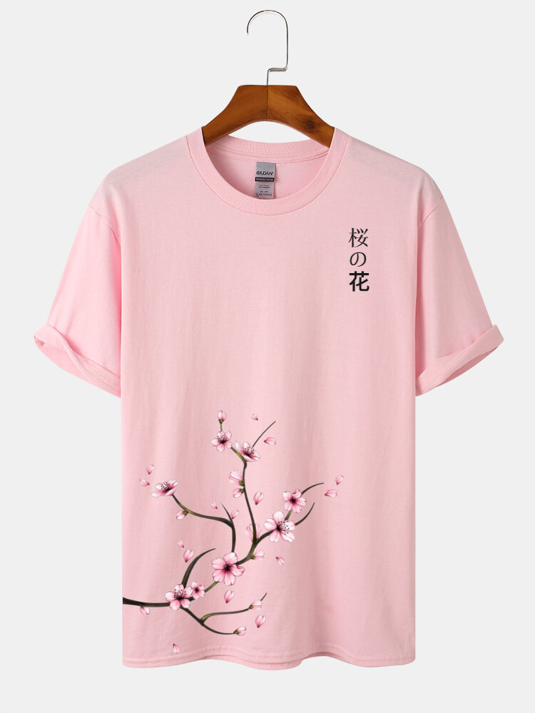 Mens Cherry Blossoms Print Japanese Style Cotton Short Sleeve T-Shirts