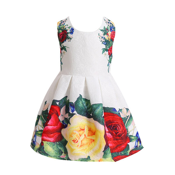 Flower Print Sleeveless O-neck Party Dress For Kids Girl 3Y-13Y