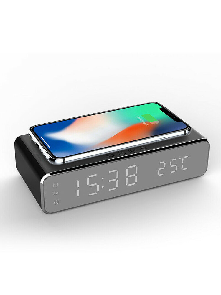 Electric LED 12/24H Alarm Clock With Phone Wireless Charger Digital Display Desktop Clock
