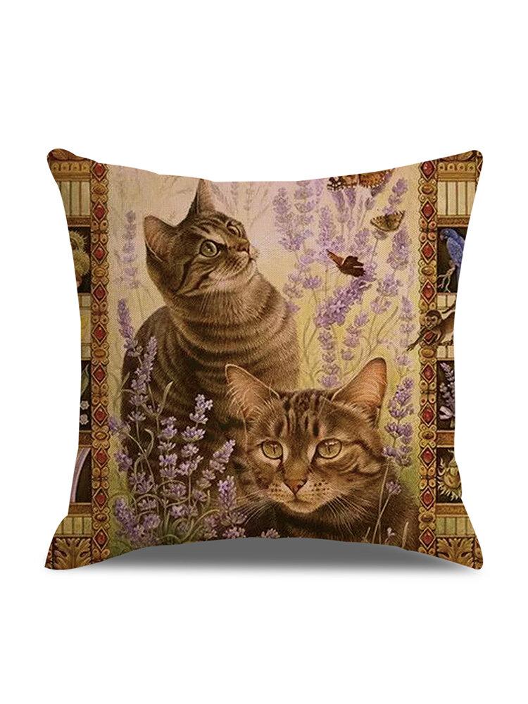 Retro Style Cats Leinen Baumwolle Kissenbezug Home Sofa Art Decor Throw Kissenbezug
